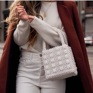 Beaded pearls Handbags Blogger dupe Bucket tote